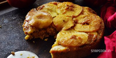 Apple upside down cake – Apple caramel cake – Eggless and Wholewheat